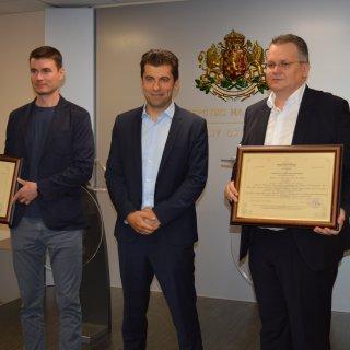 Министърът на икономиката Кирил Петков връчи два сертификата по реда на Закона за насърчаване на инвестициите (ЗНИ)